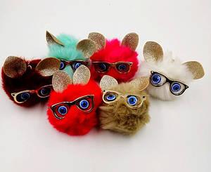 Брелки мягкие с ушками и очками