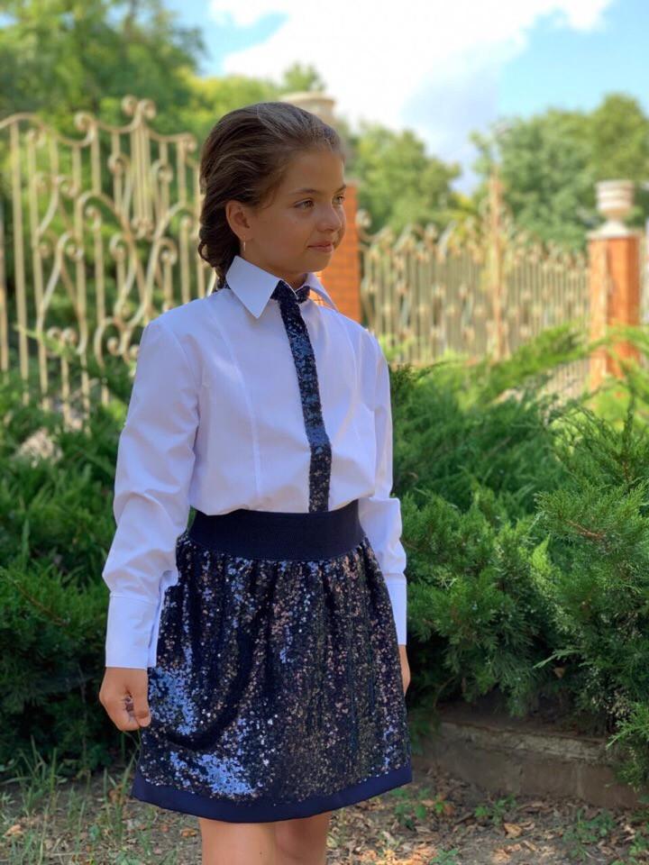 Детская юбка из пайеток в школу для девочки