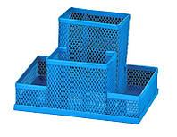 Подставка наст. (пустая), 4 отдел., мет., прямоугольная, синяя, сетка, Zibi