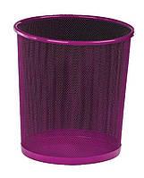 Корзина для мусора металл, круглая, 10л, розовая, сетка, Zibi