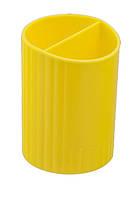 Стакан для ручек, пласт., 2 отдел, круглый, желтый, Zibi