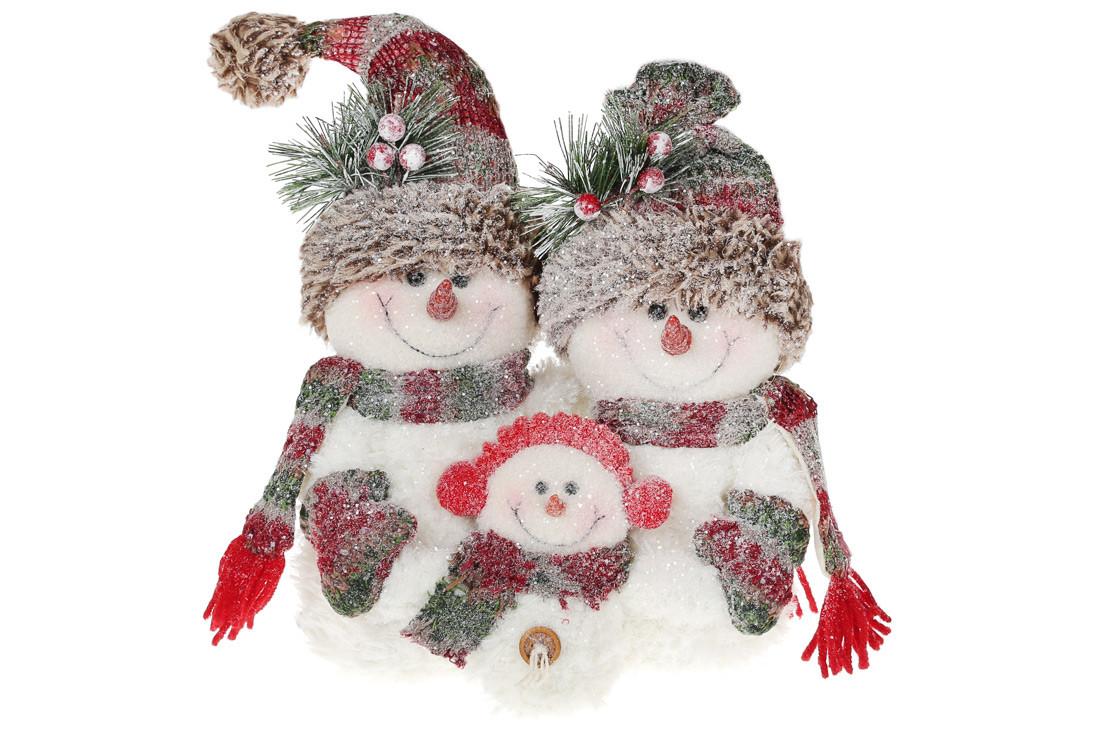 Мягкая новогодняя игрушка-композиция Семья снеговиков, 36см, цвет - белый, в упаковке 1шт. (778-291)