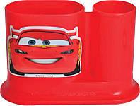 Стакан для ручек детский, пласт., 2 отд.., овальный, красный, 1 Вересня Тачки