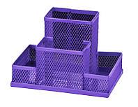 Подставка наст. (пустая), 4 отдел., мет., прямоугольная, фиолетовая, Zibi
