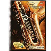 Тетрадь для нот А4, 24 л., спираль боковая, карт., Brisk Gold