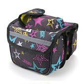 Велосипедная сумка BoI на раму, 3-ри секции - черная со звездами