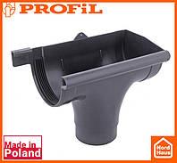 Водосточная пластиковая система PROFIL 130/100 (ПРОФИЛ ВОДОСТОК). Ливнеприемник правый P, графитовый