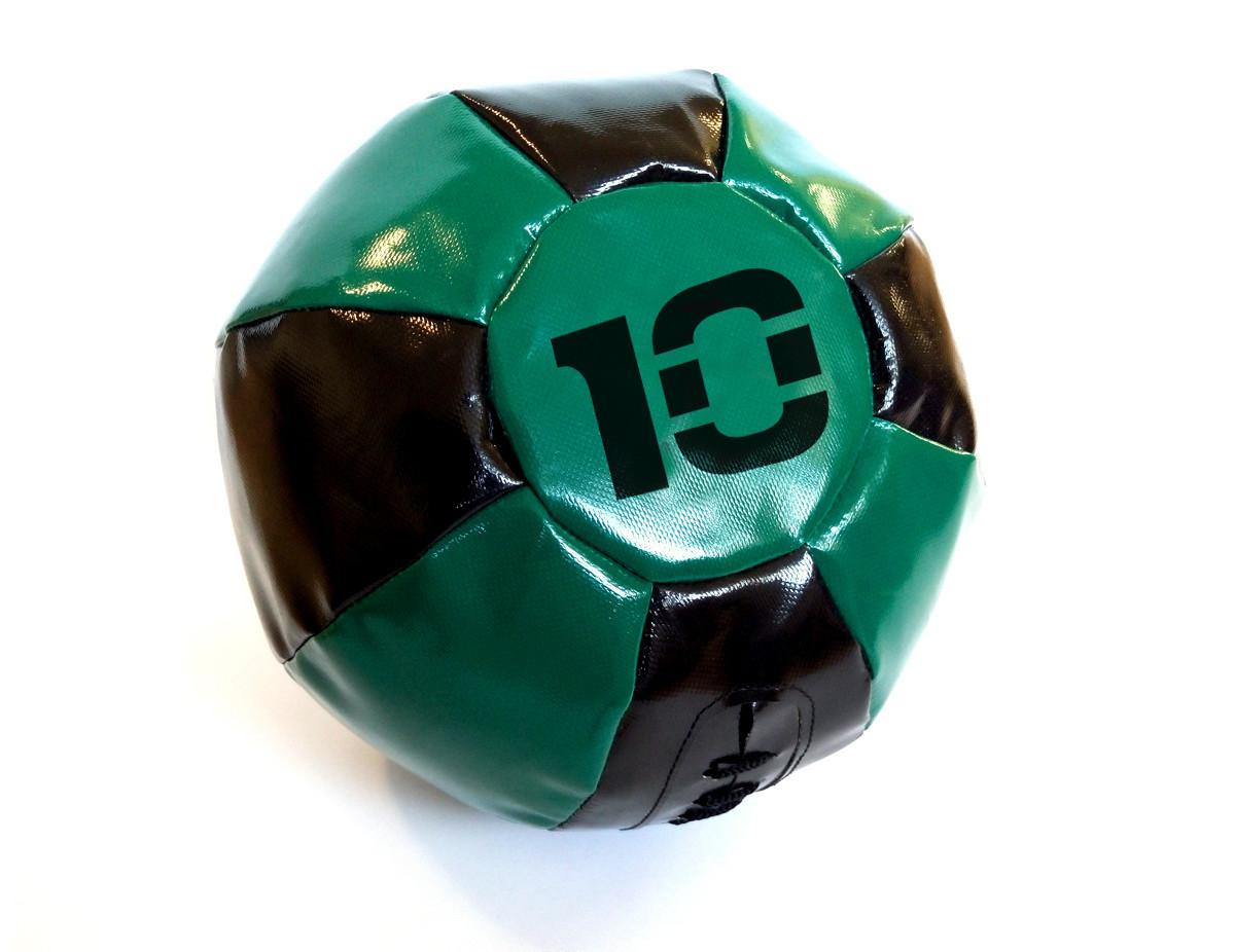 Медбол 10 кг черно-зеленый