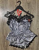 Велюровая майка+шорты с кружевом пижама ТМ Exclusive-049.