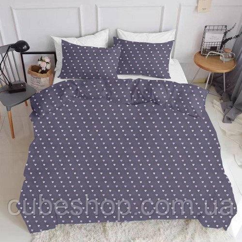 Комплект полуторного постельного белья LOVE PURPUR WHITE (хлопок, ранфорс)