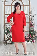 Женское  платье прямого силуэта батал КРАСНОЕ 52,54,56,58р карманы с фигурным входом и складочкой