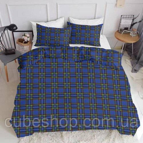Комплект полуторного постельного белья SCOTTISH BLUE WHITE (хлопок, ранфорс)