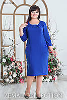 Женское  платье прямого силуэта батал ЕЛЕКТРИК 52,54,56,58р карманы с фигурным входом и складочкой