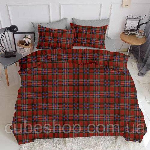 Комплект полуторного постельного белья SCOTTISH RED GREY (хлопок, ранфорс)