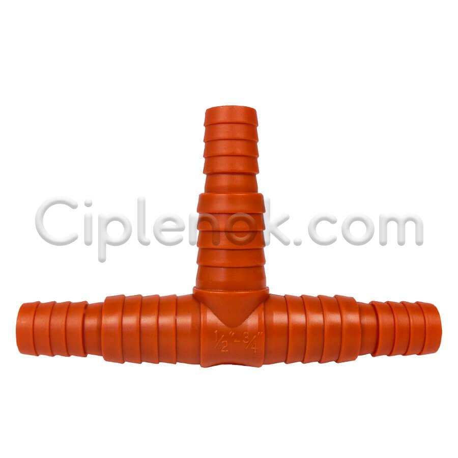 Тройник соединительный 1/2-3/4″ пластик оранж.
