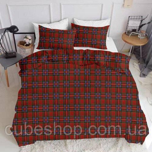 Комплект полуторного постельного белья SCOTTISH RED WHITE (хлопок, ранфорс)