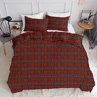 Комплект полуторного постельного белья SCOTTISH RED WHITE (хлопок, ранфорс), фото 1