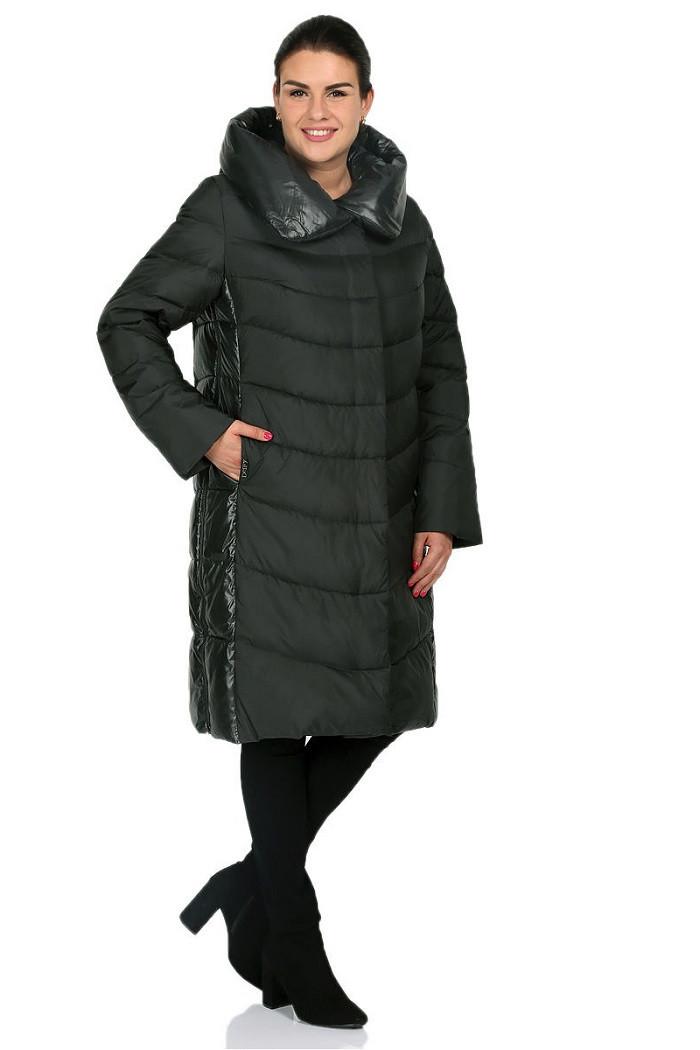 Зимнее пальто с капюшоном Жаклин изумруд (50-58)