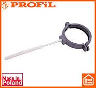 Водосточная пластиковая система PROFIL 130/100 (ПРОФИЛ ВОДОСТОК). Держатель трубы пластик L100 , графитовый