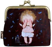 Кошелек детский Gapchinska фермуар, (девочка), 9,5х10х2,5см, черный, PU-кожа, Kite