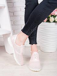Туфли кожаные пудра (лето) Эвелин бел. 7067-28