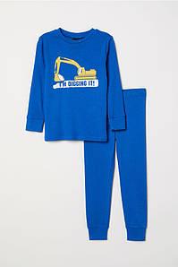 Пижама длинный рукав синяя Digging H&M  р.92см
