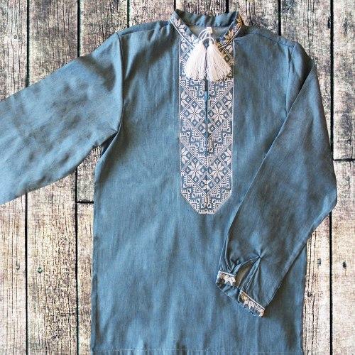 Вышиванка для мальчика с белой вышивкой Козак