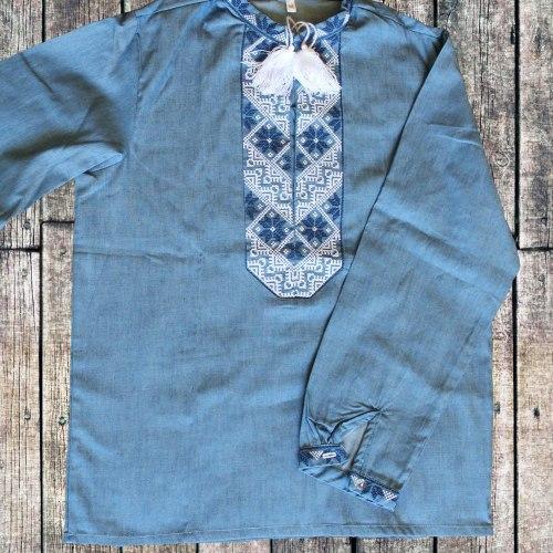 Вышиванка для мальчика с сине-белой вышивкой Козак