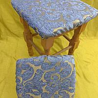 Чехлы на стандартные табуреты 33*33см (комплект 4шт) голубой с золотом, фото 1