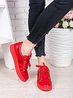Женские кожаные кеды, красные, комбинация кожи и замши. Фабричное качество!