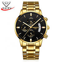 Мужские наручные часы Nibosi 2309 - Золотой корпус, золотой металический ремешок