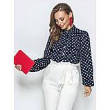Стильная блузка в горошек с воротником стоечка и лентами переходящими в бант, фото 3