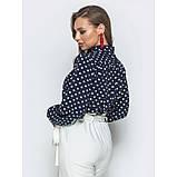 Стильная блузка в горошек с воротником стоечка и лентами переходящими в бант, фото 4