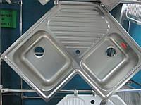 Мойка кухонная угловая из нержавеющей стали Dominox (Franke) PNL 621-E декор, фото 1