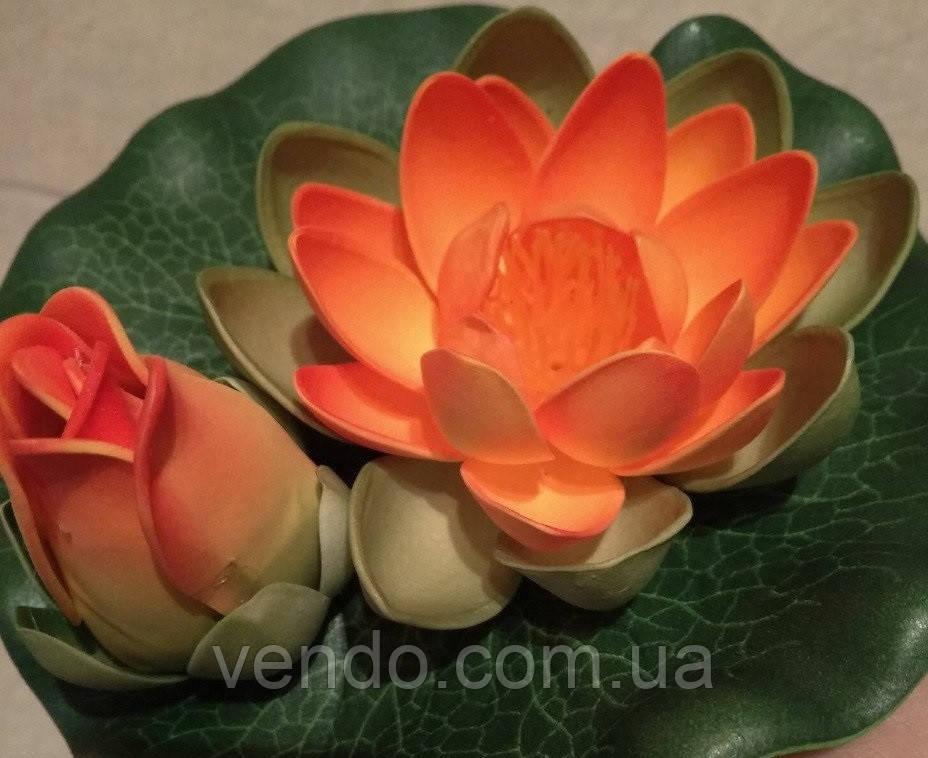 Цветок Лотоса декоративный плавающий с бутоном 17 х17х5 см(водяная лилия) оранжевый