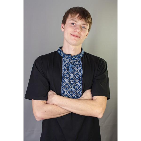 Мужская вишиванка длинный рукав с синим орнаментом