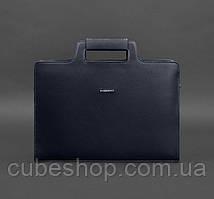 Женская деловая сумка для ноутбука и документов (темно-синяя)