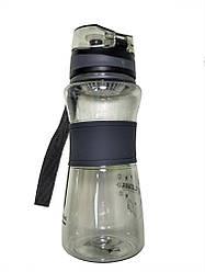 Спортивна пляшка поїлка з силіконовою вставкою і ремінцем MHZ R83331 Black