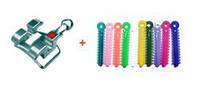 Брекеты РОТ mini Crystal 0,22 с крючками 20шт(в+н) TS22-24 + лигатуры эласт. цветные 20 шт