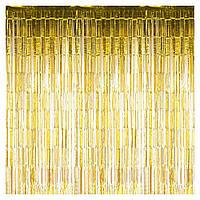 Шторка для фото зон  из фольги  золотая 1х2 м