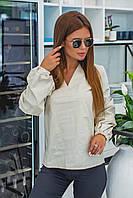 Женская хлопковая блузка с длинными рукавами