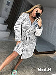 """Женский стильный теплый мягкий короткий домашний (банный) халат с капюшоном и поясом """"Зебра"""", фото 4"""