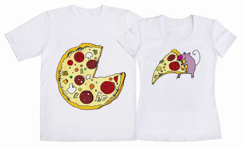 """Парные футболки """"Пицца-пицца ом-ном-ном"""""""
