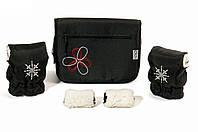 "Комплект сумка и рукавички на коляску Ok Style ""Цветок"" Черная Цветок бело-красный"