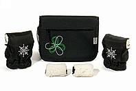 "Комплект сумка и рукавички на коляску Ok Style ""Цветок"" Черная Цветок бело-салатовый"
