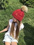 Вязаная шапка для девочки ручной вязки. Женская вязаная шапка., фото 3