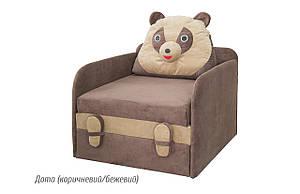 Детский раскладной диван Юниор Панда дота (коричневый/бежевый) Мебель-сервис