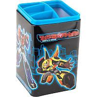 Стакан для ручек детский, металл, 4 отд., квадратный, черный с синим, Kite Transformers