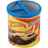 Стакан для ручек детский, металл, 3 отд., круглый, желтый, Kite Hot Wheels