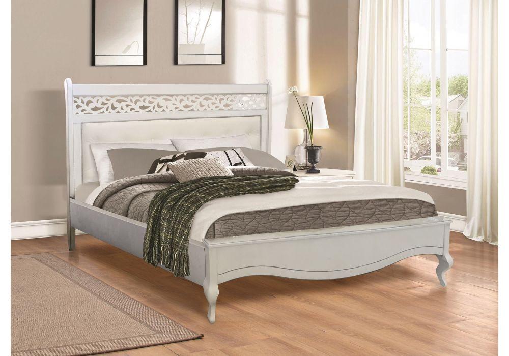 Кровать Лаура белая 1,6х2 м с мягким изголовьем из экокожи